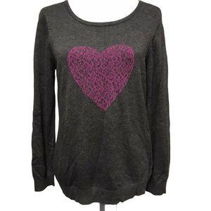 Grey Ricki's Long Sleeve Cheetah Heart Sweater SzL